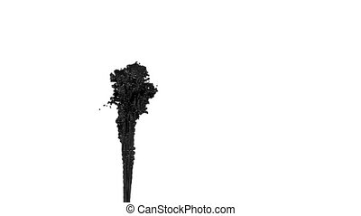 fountain of black paint like car paint or black oil on white background with alpha matte use it like alpha channel. version 5