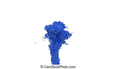 fountain of blue paint like car paint on white background with alpha matte use it like alpha channel. version 1