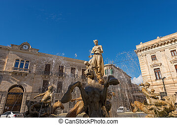 Fountain of Diana - Ortigia Syracuse Sicily Italy - Close-up...