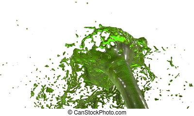 fountain of green juice 3d on white background with alpha channel use alpha mask. Top of a fountain with vortex liquid. 3D render high detail. Version 8