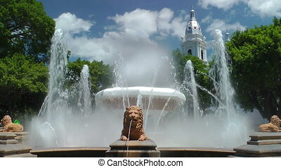 Fountain of Lions at Plaza Las Delicias in Ponce, Puerto...