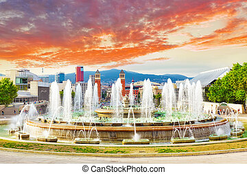 Fountain of Montjuic and Plaza de Espanya. - Fountain of...