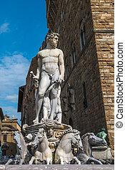Fountain of Neptune on Piazza della Signoria in Florence