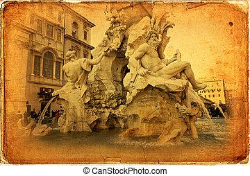 Fountain of the Four Rivers (Fontana dei Quattro Fiumi) with an Egyptian obelisk. Italy. Rome. Navon Square (Piazza Navona).