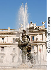 This famous fountain of Rome, with the four bronze statues of the Naiads by Mario Rutelli stands in the center of the square; bordered by the church of Santa Maria degli Angeli and Diocletian's Baths. On the other side there are buildings of various architectural styles. Called Piazza della ...