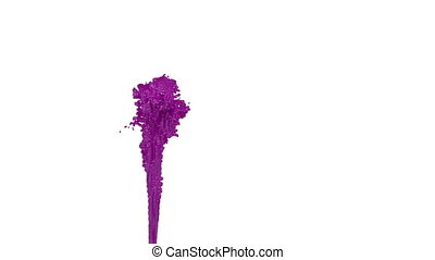 fountain of violet paint like car paint on white background with alpha matte use it like alpha channel. version 5
