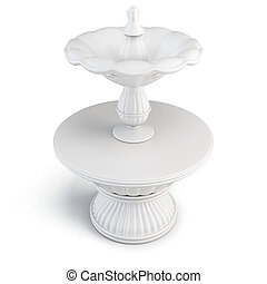 Fountain of white stone isolated on white background. 3d illustration