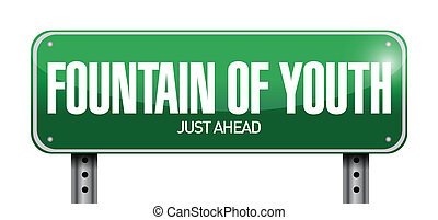 fountain of youth road sign illustration design over white