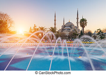 sultanahmet - fountain on sultanahmet area in evening time