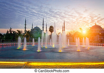 Sultanahmet Mosque - fountain on the background of the...