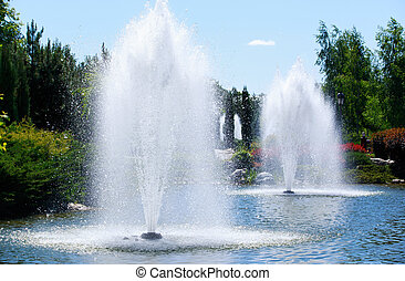 fountain on the lake