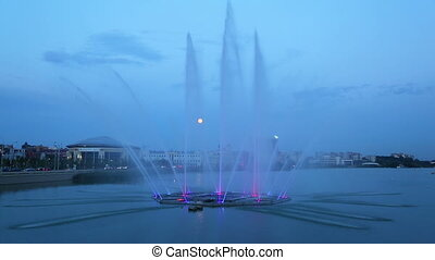 Fountain on the lake Kaban at night in Kazan, Russia - timelapse