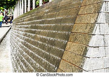 Fountain Over Granite Wall