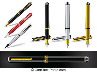 Fountain Pen and Ball Point Pen - Vector Illustration