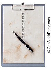 fountain pen and checkbox on the clip board