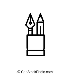 fountain pen and pencil tool architecture icon line style
