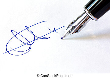 Fountain Pen and Signature - Close up shot of a fountain pen...