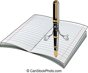 Fountain pen cartoon character with notebook