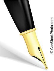 Fountain pen - Close up of a gold nib of a fountain pen