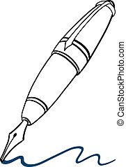 Fountain pen - Doodle illustration of a classic fountain pen...