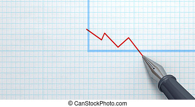 Fountain Pen Drawing Declining Graph - An extreme closeup of...