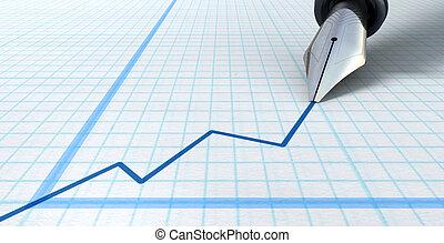 Fountain Pen Drawing Increasing Graph - An extreme closeup ...