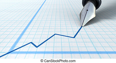 Fountain Pen Drawing Increasing Graph - An extreme closeup...
