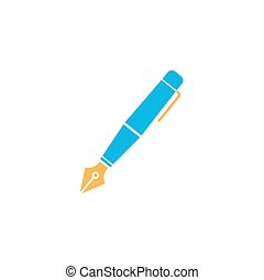 Fountain pen flat icon, education and school