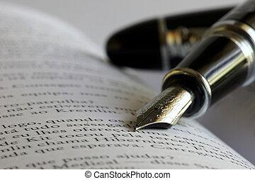 Fountain Pen on a open book with selective focus