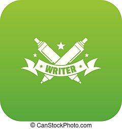 Fountain pen icon green vector