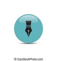Fountain pen icon on a blue bubble with shadow