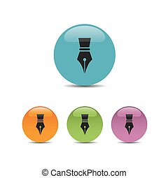 Fountain pen icon on a colored bubbles with shadow