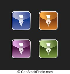 Fountain pen icon on colored square buttons