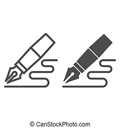 Fountain pen line and glyph icon. Feather pen drawing line vector illustration isolated on white. Pen writing outline style design, designed for web and app. Eps 10.