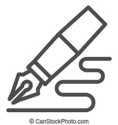 Fountain pen line icon. Feather pen drawing line vector illustration isolated on white. Pen writing outline style design, designed for web and app. Eps 10.