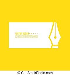 Fountain pen nib. - Fountain pen nib icon with text box ...