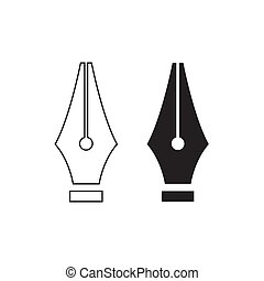 Fountain pen nib. - Fountain pen nib line icon isolated on ...