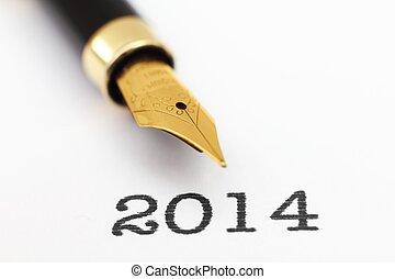Fountain pen on 2014 year