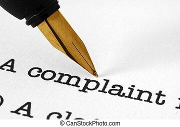 Fountain pen on complaint text