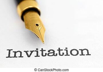 Fountain pen on invitation  text