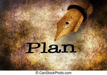 Fountain pen on plan text grunge concept