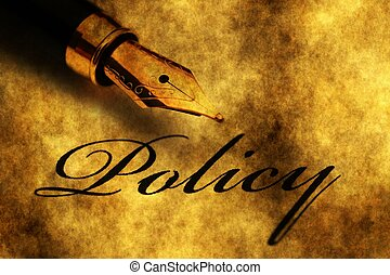Fountain pen on policy