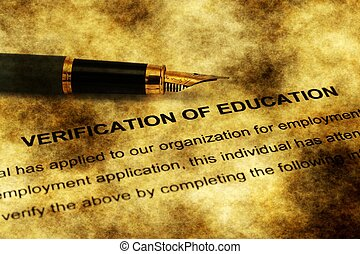 Fountain pen on verification of education