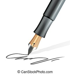 Fountain Pen Realistic - Closeup on fountain pen writing a...