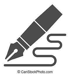Fountain pen solid icon. Feather pen drawing line vector illustration isolated on white. Pen writing glyph style design, designed for web and app. Eps 10.