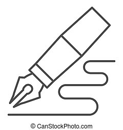 Fountain pen thin line icon. Feather pen drawing line vector illustration isolated on white. Pen writing outline style design, designed for web and app. Eps 10.