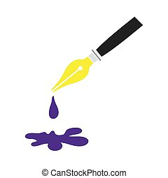 Fountain Pen With Blot Icon. Flat Color Design. Vector Illustration.