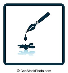 Fountain pen with blot icon. Shadow reflection design. Vector illustration.