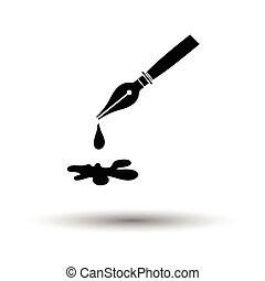 Fountain pen with blot icon. White background with shadow design. Vector illustration.