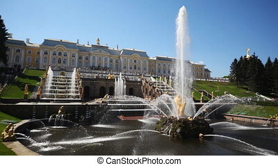 Fountain Samson and Grand Cascade fountains in front of Royal Petrodvorets